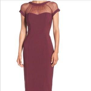 Maggy London Illusion Yoke Sheath Crepe Dress